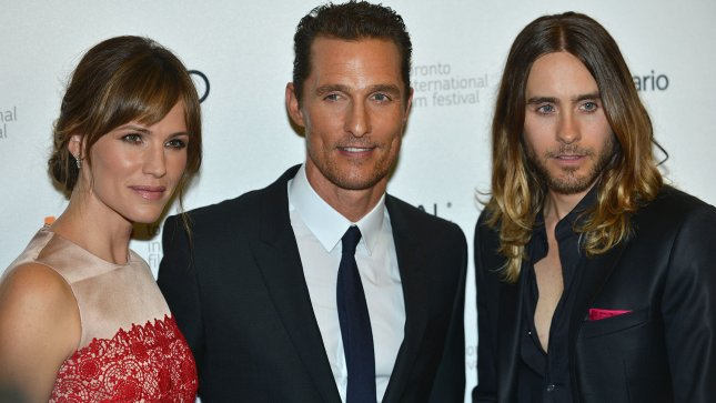 (L-R) Jennifer Garner, Matthew McConaughey and Jared Leto arrive for the world premiere of 'Dallas Buyers Club' at the Princess of Wales Theatre during the Toronto International Film Festival in Toronto, Canada on September 7, 2013. UPI/Christine Chew