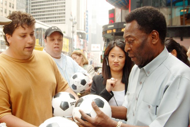 Renowned soccer player Pele, pictured here in 2007 in New York's Times Square, has been hospitalized in Brazil. File Photo by Ezio Petersen/UPI