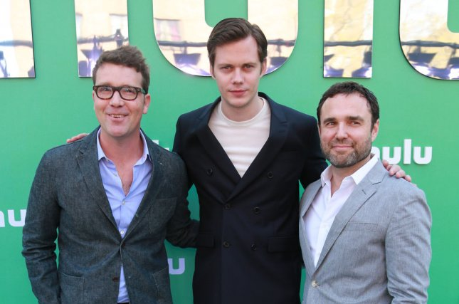 Left to right, Sam Shaw, Bill Skarsgard and Dustin Thomason arrive on the red carpet at the Hulu 2018 upfront presentation on May 2 in New York City. Their show Castle Rock has been renewed for a second season. File Photo by Serena Xu-Ning/UPI