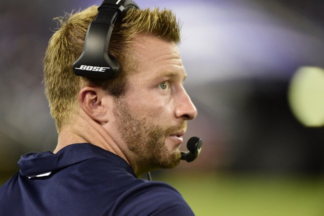 Los Angeles Rams head coach Sean McVay watches from the sideline during the first half against the Baltimore Ravens on August 9, 2018 at M&T Bank Stadium in Baltimore, Maryland. Photo by David Tulis/UPI