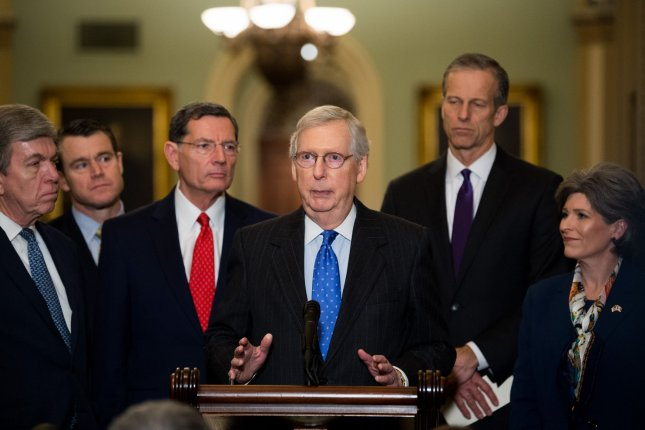 Senate Majority Leader Mitch McConnell introduced a bill Tuesday to end the shutdown. Photo by Kevin Dietsch/UPI