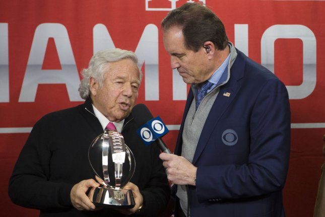 New England Patriots owner Robert Craft is interviewed during the awards ceremony after the AFC Championship game on January 20 at Arrowhead Stadium in Kansas City, Mo. Police say Kraft was at the Orchids of Asia Day Spa and paid for sexual acts earlier in the day in Jupiter, Fla. File Photo by Kyle Rivas/UPI