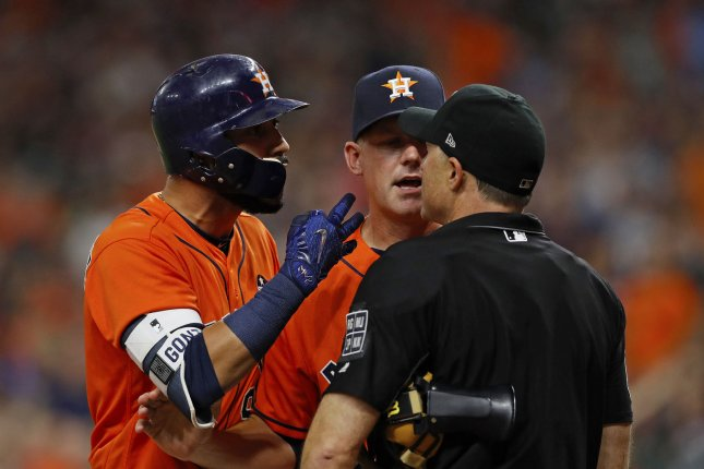 Houston Astros manager A.J. Hinch (C) was ejected twice during the 2018 season and was ejected during a spring training game before the 2019 season. Hinch has been ejected a total of 16 times during his seven year career as a manager. File Photo by Aaron M. Sprecher/UPI