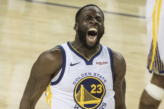 Golden State Warriors forward Draymond Green got two technical fouls in 11 seconds in the second quarter of a loss to the Los Angeles Lakers Thursday in San Francisco. File Photo by Terry Schmitt/UPI