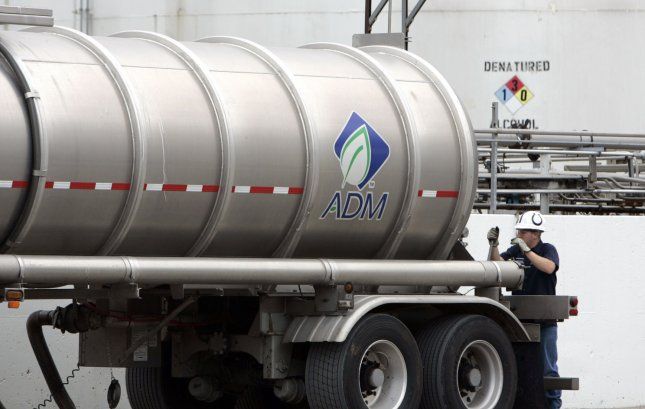 An Archer Daniels Midland truck is filled with Ethanol outside of the ADM corn processing facility in Decatur, Illinois on July 2, 2009. ADM's plant is the largest corn and soybean processing facility in the world. (UPI Photo/Mark Cowan/HO)