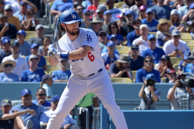 Los Angeles Dodgers' Charlie Culberson waits on a pitch in the third inning at Dodger Stadium in Los Angeles on September 25, 2016. For the 15th time in franchise history, and for the fourth straight year, the Dodgers are champions of the National League West. Culberson hit a walk-off home run in the 10th inning to beat the Rockies 4-3, giving them an eight-game division lead, insurmountable with six games left to play..Culberson had three hits in the win, his home run the first Dodgers walk-off clincher since Steve Finley in 2004. Photo by Jim Ruymen/UPI