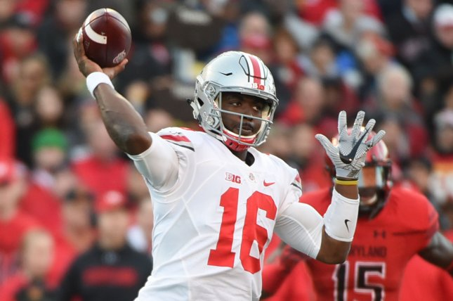Ohio State Buckeyes quarterback J.T. Barrett (16) throws against Maryland Terrapins during their football game in College Park, Maryland, November 12, 2016. Photo by Molly Riley/UPI