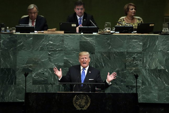 President Donald Trump delivers an address to the U.N. General Assembly -- the first of his administration -- on Tuesday in New York City. Photo by Jason Szenes/UPI