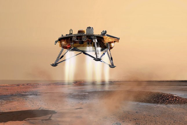 On May 25, 2008, NASA's Phoenix spacecraft made a smooth landing on Mars, completing a nine-month, 422-million-mile journey, setting down in the planet's frigid polar region where scientists hoped to find water. File Image courtesy of JPL-Calech/University of Arizona