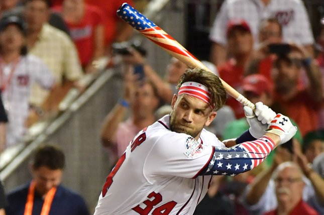 Washington Nationals' Bryce Harper of the National League bats in the 2018 Home Run Derby during the All Star break on Monday at Nationals Park in Washington, D.C. Photo by Kevin Dietsch/UPI