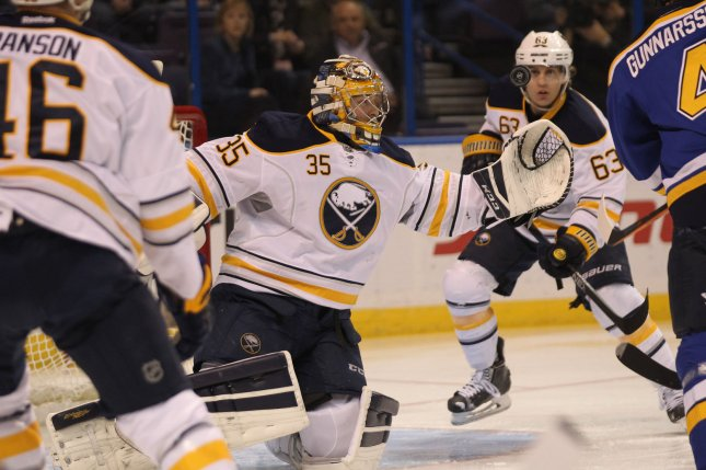 Buffalo Sabres goaltender Linus Ullmark. File photo by Bill Greenblatt/UPI