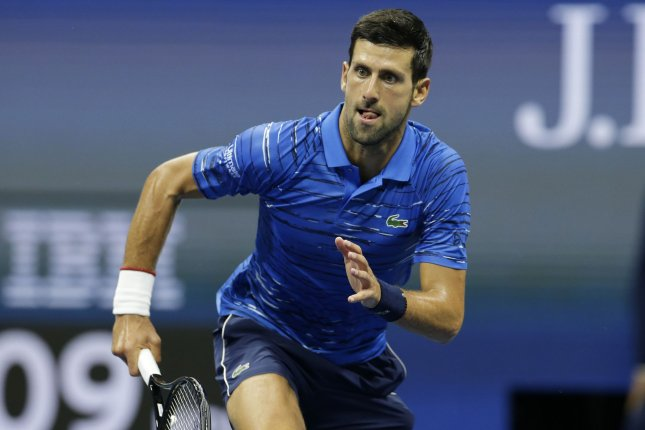 Novak Djokovic said he will self isolate for 14 days after he tested positive for the coronavirus Tuesday in Belgrade, Serbia. File Photo by John Angelillo/UPI