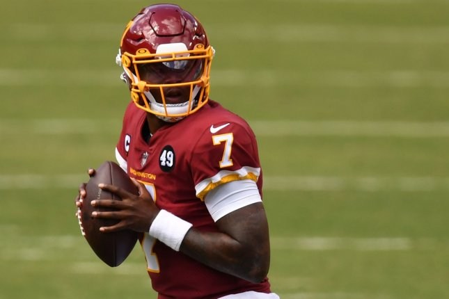 Washington Football Team quarterback Dwayne Haskins will be the team's third-string option in Week 5. File Photo by Kevin Dietsch/UPI