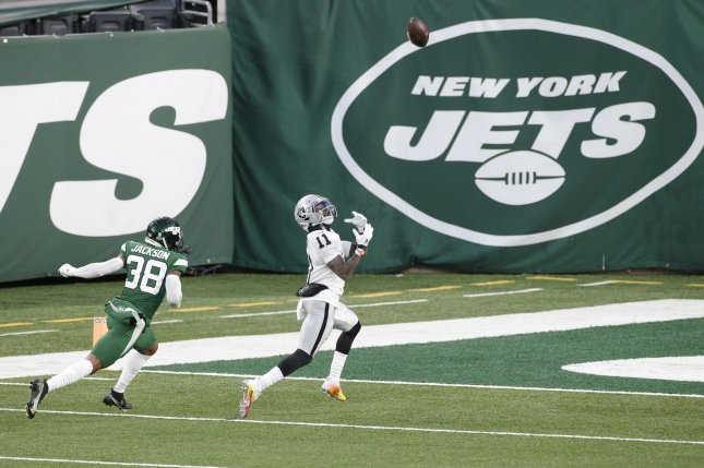 Las Vegas Raiders wide receiver Henry Ruggs III catches a 46-yard game-winning touchdown in the final seconds of Sunday's game against the New York Jets at MetLife Stadium in East Rutherford, N.J. Photo by John Angelillo/UPI