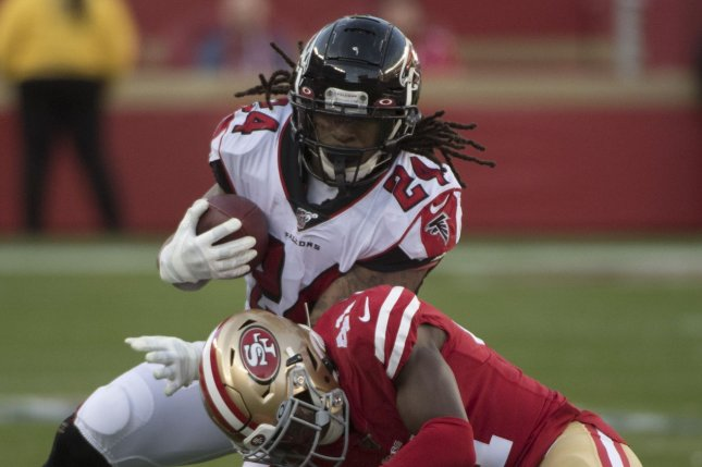Two-time Pro Bowl selection and former Atlanta Falcons tailback Devonta Freeman signed with the Buffalo Bills on Tuesday. File Photo by Terry Schmitt/UPI