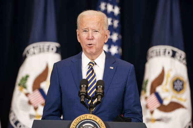President Joe Biden addresses staffers at the State Department in Washington, D.C., on Thursday. Photo by Jim Lo Scalzo/UPI
