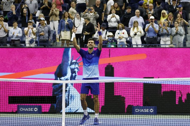 Novak Djokovic of Serbia celebrates after defeating Tallon Griekspoor of the Netherlands in straight sets during the second round of the 2021 U.S. Open Tennis Championships on Thursday at the USTA Billie Jean King National Tennis Center in New York City. Photo by John Angelillo/UPI