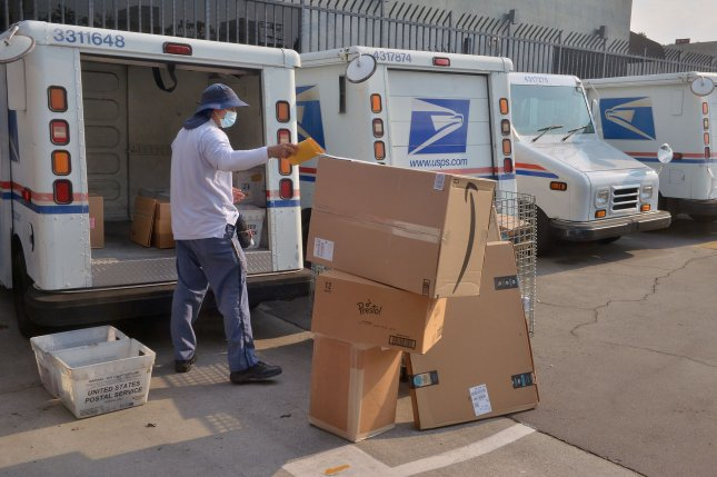 The USPS will implement the new service standards Friday, which could lead to longer transit times for some long-distance first-class mail and first-class packages. File Photo by Jim Ruymen/UPI