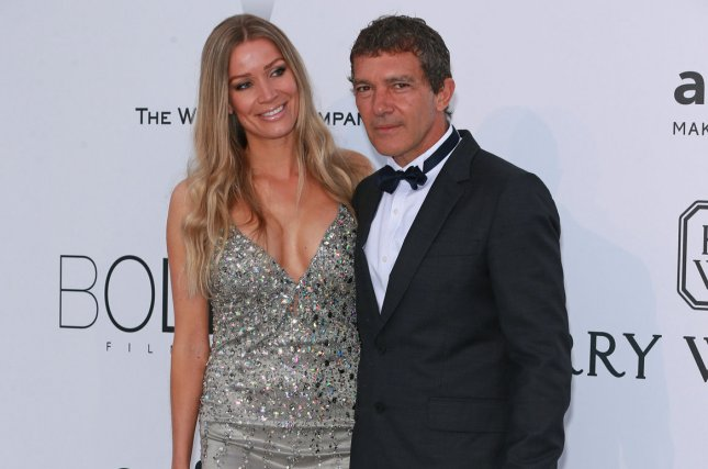 Nicole Kempel (L) and Antonio Banderas arrive at the 22nd amfAR Cinema Against AIDS 2015 gala at the Hotel du Cap-Eden-Roc in Antibes, France on May 21, 2015. Photo by David Silpa/UPI