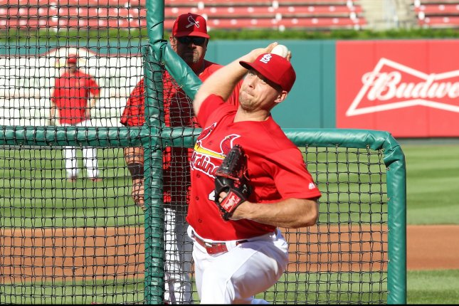 St. Louis Cardinals pitcher Trevor Rosenthal throws a live bullpen session before a game against the Chicago Cubs at Busch Stadium in St. Louis on September 13, 2016. Rosenthal has been on the disabled list since late july with rotator cuff inflammation. Photo by Bill Greenblatt/UPI