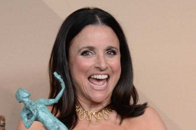 Julia Louis-Dreyfus appears backstage with her award for Outstanding Performance by a Female Actor in a Comedy Series for Veep in Los Angeles on January 29. File Photo by Jim Ruymen/UPI