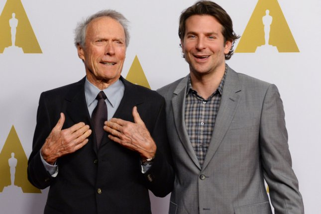 Filmmaker Clint Eastwood (L) and actor Bradley Cooper are in talks to work together again on the movie The Mule. File Photo by Jim Ruymen/UPI