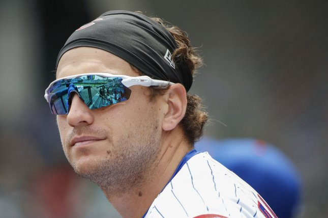 Chicago Cubs outfielder Albert Almora Jr. accidentally struck a 2-year-old girl with a foul ball off his bat during a game between the Cubs and Houston Astros. File Photo by Kamil Krzaczynski/UPI