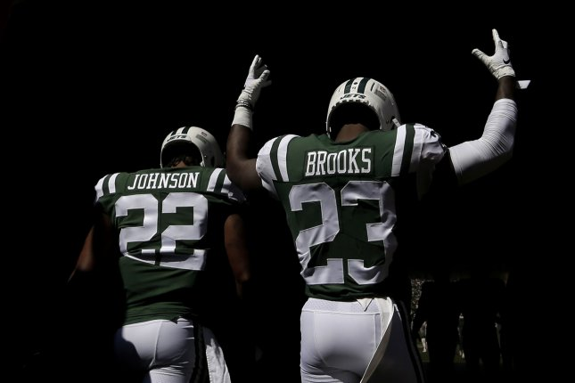 New York Jets cornerback Trumaine Johnson (22) suffered a hamstring injury after returning an interception in practice. File Photo by John Angelillo/UPI