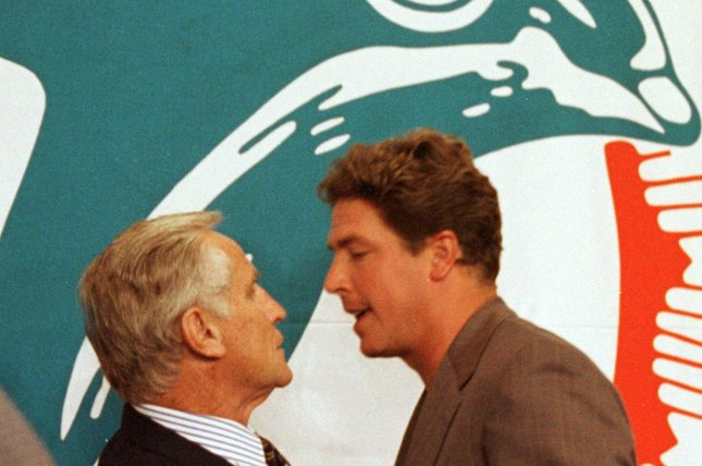Former Miami Dolphins quarterback Dan Marino (R) considered coach Don Shula (L) to be a father figure during their time together from 1983 through 1995. File Photo by Ron Crosnick/UPI