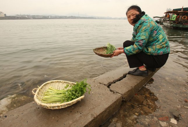 A Chinese woman washes vegetables in the Hanjiang River, the largest tributary of the Yangtze River, just a 100 kilometers south of the massive Danjiankou Dam in Xiangfan, Hubei Province, China March 22, 2011. A costly project to enable the dam to control 100-year floods is near completion, according to government officials. When it was completed in 1973, the dam held back the largest reservoir in Asia. Now the reservoir will be two-thirds larger. UPI/Stephen Shaver