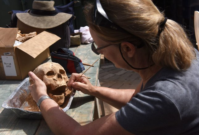 An archeologist cleans a Philistine skull uncovered in a groundbreaking discovery of the first Philistine cemetery found in the Philistine port city of Ashkelon, Israel, June 28, 2016. Archaeologists say the find could unravel Biblical mysteries about the people. The Philistines were known as the archenemy of ancient Israel from the Hebrew Bible.The discovery is the result of more than thirty years of excavations at the sight that were carried out by the Leon Levy Expedition in Ashkelon. Findings from the cemetery, dated to the 11th - 8th centuries BCE, may support the claim recorded in the Bible that the Philistines were migrants to the shores of ancient Israel who arrived from lands to the West around the 12th century BCE. Artifacts uncovered include ceramics, jewelry, weapons and bones. Bone samples taken from the site are currently undergoing three types of testing, CNS, radiocarbon and biological distance studies, in order to help ascertain the Philistines' origin. File Photo by Debbie Hill/ UPI