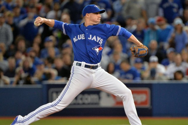 Toronto Blue Jays relief pitcher Aaron Sanchez. Photo by Kevin Dietsch/UPI