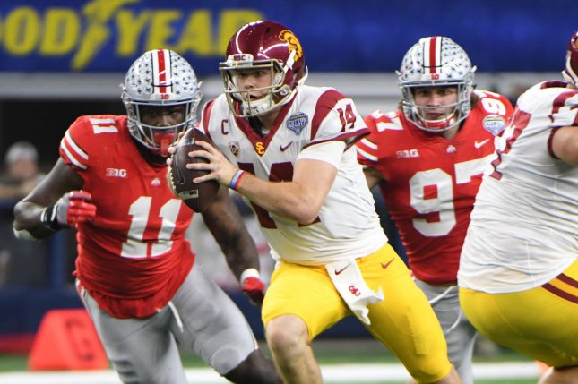 USC Trojans quarterback Sam Darnold rushes against Ohio State during the first half of the Goodyear Cotton Bowl Classic on December 29, 2017 at AT&T Stadium in Arlington, Texas. Photo by Ian Halperin/UPI