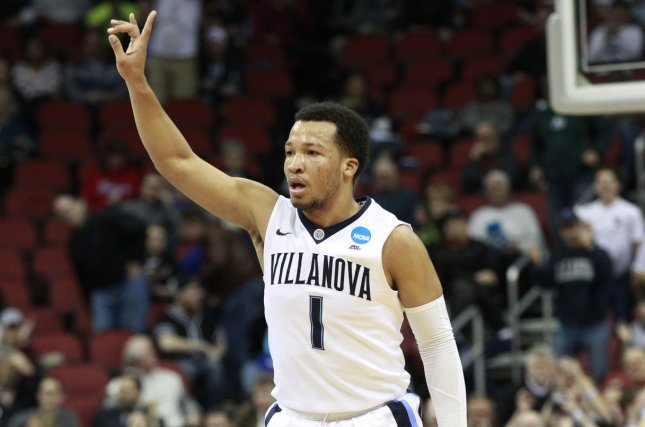 Villanova University's Jalen Brunson (1) reacts after sinking a three-point basket against the University of Miami during the first half of play in their fourth-round game of the 2016 NCAA Division I Men's Basketball Regional Championships on March 24, 2016 at the KFC Yum! Center in Louisville, Kentucky. File photo by John Sommers II/UPI
