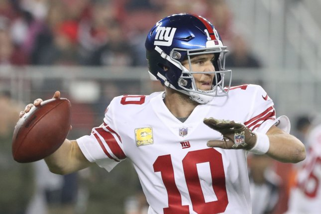 New York Giants quarterback Eli Manning (10) passes from the pocket in the first quarter against the San Francisco 49ers on November 12, 2018 at Levi's Stadium in Santa Clara, California. Photo by Terry Schmitt/UPI