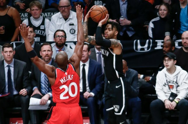 Former Brooklyn Nets guard D'Angelo Russell (R) averaged a career-high 21.1 points per game last season. File Photo by Nicole Sweet/UPI