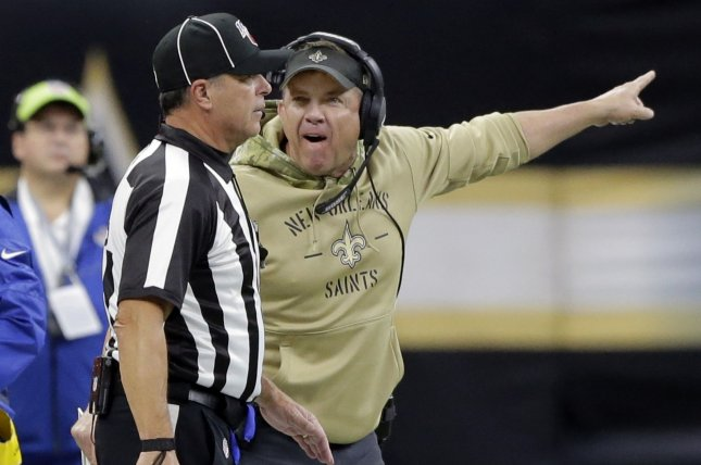 New Orleans Saints head coach Sean Payton (R) said he thought the Carolina Panthers had the edge to sign quarterback Tommy Stevens, before his team traded into the seventh round to pick the former Mississippi State star in the 2020 NFL Draft. File Photo by AJ Sisco/UPI