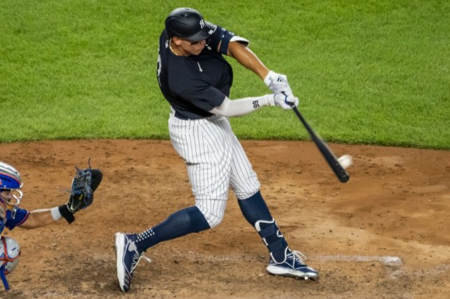 New York Yankees right fielder Aaron Judge hit two home runs and had three RBIs in a 6-0 win against the New York Mets in a summer camp game Sunday at Yankee Stadium. Photo by Corey Sipkin/UPI