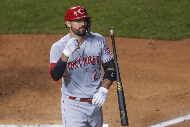 Entering Friday, Cincinnati Reds outfielder Nick Castellanos, shown Sept. 8, 2020, was tied for second in MLB with a .329 batting average and 29 doubles. File Photo by Kamil Krzaczynski/UPI