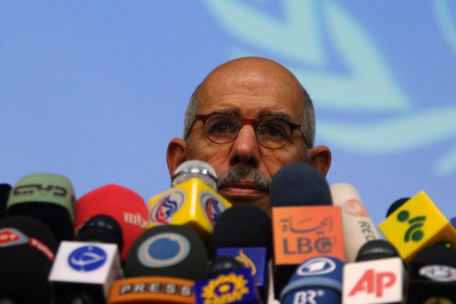 Mohamaed ElBaradei, the head of the International Atomic Energy Agency (IAEA), attends a joint press conference with the head of Iran's Atomic Energy Organization Ali Akbar Salehi on October 4, 2009 in Tehran. UPI/Maryam Rahmanian