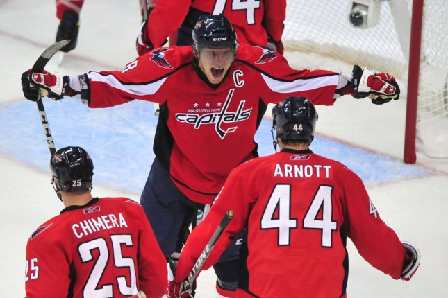 4a10f225cff Washington Capitals  Alex Ovechkin celebrates with teammates after the  Capitals defeated the New York Rangers 2-1 in overtime during game one of  their ...