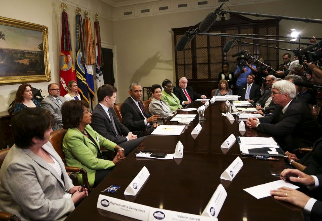President Barack Obama met with small business owners to discuss the importance of the reauthorization of the Export-Import Bank, in the Roosevelt Room of the White House on July 22, 2015, in Washington, DC. A measure to reauthorize the agency was approved Tuesday by the House of Representatives. Pool photo by Aude Guerrucci/UPI