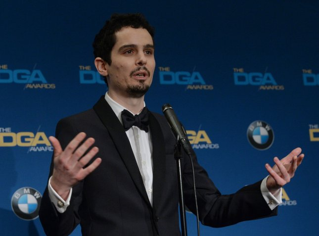 Director Damien Chazelle speaks with reporters backstage after winning the award for Outstanding Directorial Achievement in Feature Film for La La Land during the 69th annual Directors Guild of America Awards at the Beverly Hilton Hotel in Los Angeles on February 4, 2017. Photo by Jim Ruymen/UPI