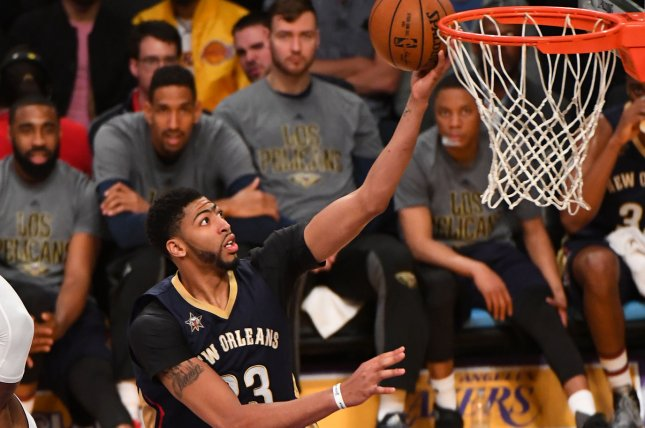 New Orleans Pelicans forward Anthony Davis scores against Los Angeles Lakers forward Julius Randle (30) on March 5, 2017 at Staples Center in Los Angeles. File photo by Jon SooHoo/UPI