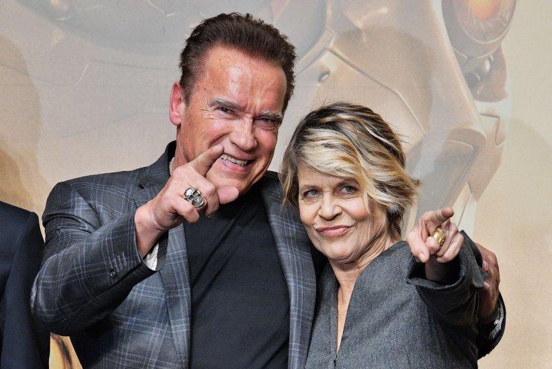 Terminator stars Arnold Schwarzenegger (L) and actress Linda Hamilton. File Photo by Keizo Mori/UPI