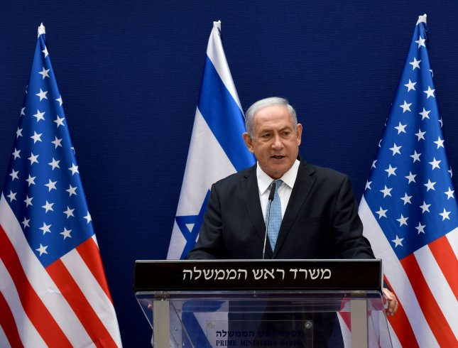 Israeli Prime Minister Benjamin Netanyahu and Senior U.S. Presidential Adviser Jared Kushner, not seen, make joint statements to the press about the Israeli-United Arab Emirates peace accords in Jerusalem, on Sunday. Photo by Debbie Hill/UPI