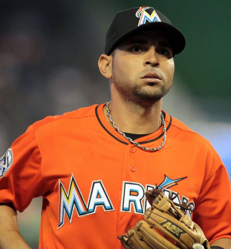 Miami Marlins second baseman Omar Infante at Marlins Ball Park in Miami, April 1, 2012. UPI/Susan Knowles