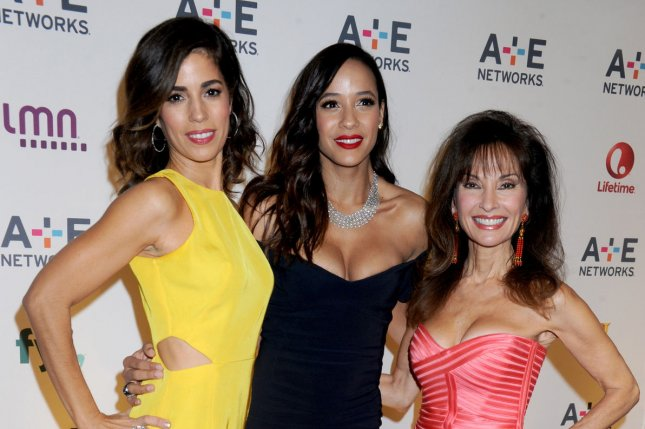 (L-R) Ana Ortiz, Dania Ramirez and Susan Lucci, stars of Lifetime's Devious Maids, arrive on the red carpet at the 2015 A+E Network Upfront at Park Avenue Armory in New York City on April 30, 2015. The show was canceled after four seasons on the network. File Photo by Dennis Van Tine/UPI