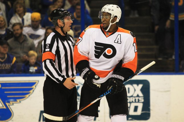 Philadelphia Flyers' Wayne Simmonds and Columbus Blue Jackets right winger Cam Atkinson scored goals five seconds apart as the Metropolitan Division defeated the Pacific Division 4-3 to win the All-Star Game at Staples Center on Sunday. File Photo by Bill Greenblatt/UPI