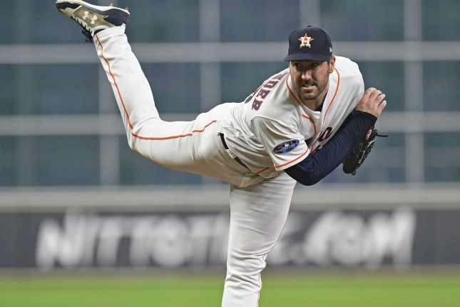 Houston Astros starting pitcher Justin Verlander throws against the Cleveland Indians during the fourth inning of Game 1 of the American League Divisional Series on October 5 at Minute Maid Park in Houston. Photo by Trask Smith/UPI